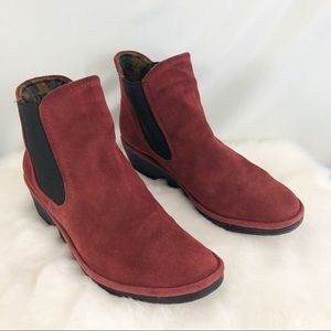 Fly London Red Suede Yay Ankle Boots Size 11 Sz 42